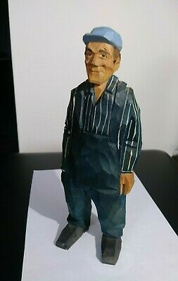 "Wood Carved Railroad Engineer Figurine approx 7"" Blue Hat Overalls. By Grumman?"