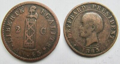 Haiti 1846 2 Centimes and 1863 10 Centimes