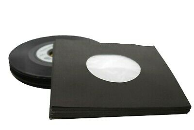 """24 Sheets - Black Polylined Paper Record Sleeves 7"""" Vinyl Records (45Rpm)"""