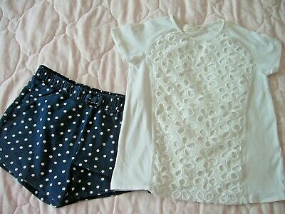 Zara White Top Lace Overlay To Front 6-7 Years & George Navy Spotted Shorts