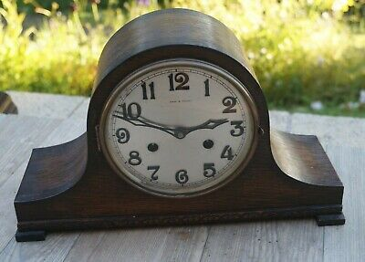 German time strike mantel clock.SEE VIDEO.