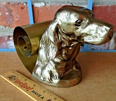 Vintage Mid Century Modern Plated Metal English Setter Dog Head Study Bookend!