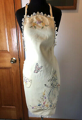 Vintage Apron Fantastic Embroidered woman with butterfly. On linen material