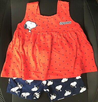 New Peanuts Snoopy Girls 2Pc Top & Shorts Set Official - Ages 2-3 Yrs