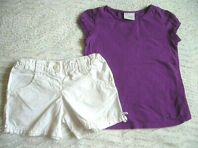 Next Purple S/S Cotton Top 3 Years & Marks & Spencer White Shorts 3-4 Years