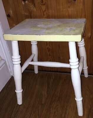 Vintage Chippy Painted Farmhouse Wooden Stool  with Turned Legs Country Prop