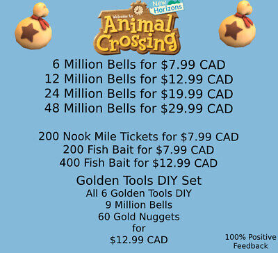 Animal Crossing New Horizons🔔Bells/Nook Mile Tickets/Fish Bait/Golden Tools🔔