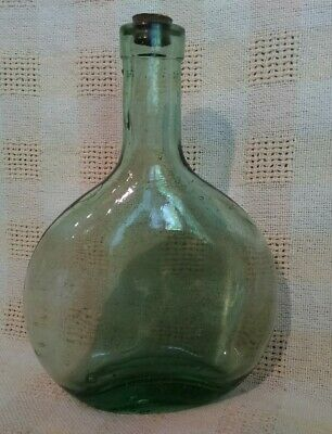Antique Blown Glass Green Bottle with Cork 6 1/2'' Tall Bubbles Nice Shape!