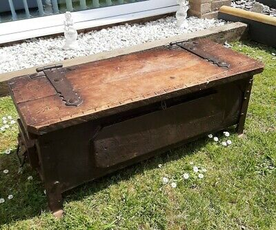 Antique Rustic Solid Oak Carved Trunk/Coffer Chest