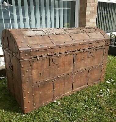 Antique Solid Oak Banded Dome Topped Treasure Chest/Trunk