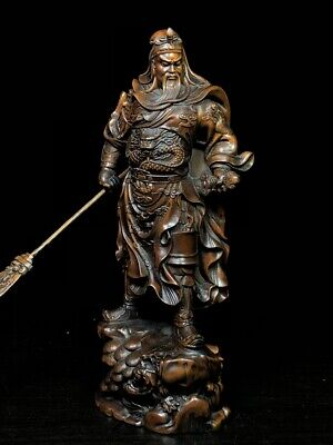 Collectable Rare Boxwood Carved Pass Feather Take Sword Auspicious Noble Statue