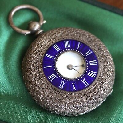 An Antique Half Hunter Silver And Enamel Pocket Or Fob Watch, Boxed.
