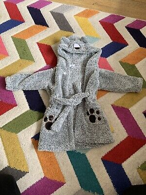 M&Co Boys Grey Fluffy Dressing Gown 12-18months Monster Supersoft