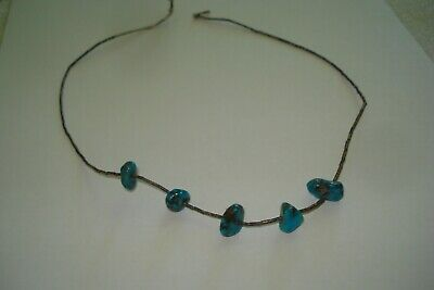 """Vintage Turquoise Liquid Sterling Bead Necklace Native American (17.5"""")"""