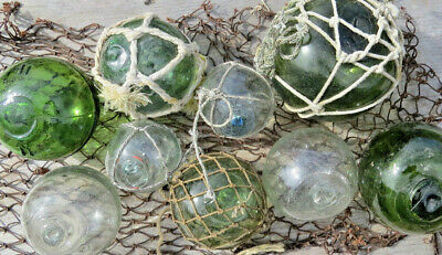 Japanese Glass Floats Green & Clear Lot-9 Makers Marks Misshapen ANTIQUES +Net