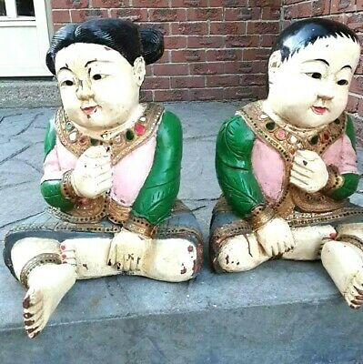 Antique Large Beautiful Chainese? Hand Carved Wood Painted And Designed Statues