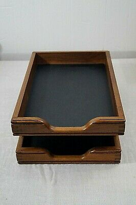 Vintage Wooden Dovetailed Double Desk Letter Paper tray Office Organizer