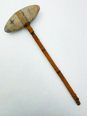 Antique Stone & Hide Native American Sioux Painted War Hunting Club / Weapon