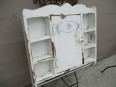 Antique/Vintage Farmhouse Shabby Chic Wood Wall Cabinet With Towel Bar