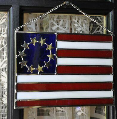 """Vintage Colonial American Flag Stained Glass Leaded Panels Suncatcher 8"""" x 5-3/4"""