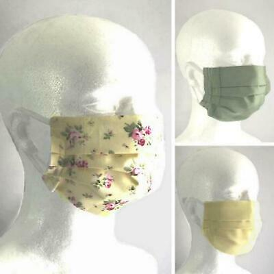 Premium 100% Cotton Re-usable Triple Layer Face Mask Covering With Nose Clip