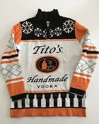 Tito's Handmade Vodka Ugly Christmas Sweater 1/4 Zip 100% Cotton Pullover S