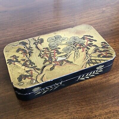 An Edo Period Japanese Metal And Lacquered Box, Landscape And Waterfall.