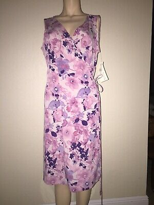 Purple And Pink Sleeveless Summer Floral Wrap Dress New With Tags Size 6