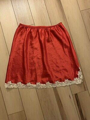 Victoria Secret Vintage Women's Half Slip Shiny Red White  Size Large
