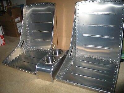 WWII style aircraft bomber seats, belt slots & Center Console COMBO DEAL Vintage