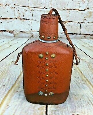 Vintage Glass Flask /w Studded Leather Holder & Cap Cover Western Farm