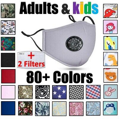 Reusable Cloth Cotton Face Mask Guard With Air Breathing Valve & 2 PM2.5 Filters