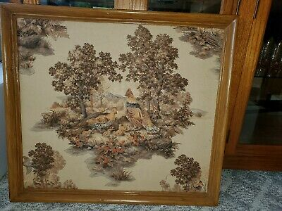 Antique Signed Fabric Art; Quail Family In Strawberry Patch, 1952
