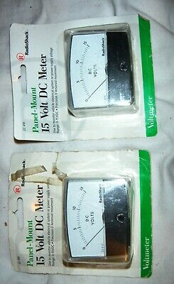 Radio Shack Panel Mount 15 volt DC Meter,Voltmeter Lot of 2. 1 pair.NIB