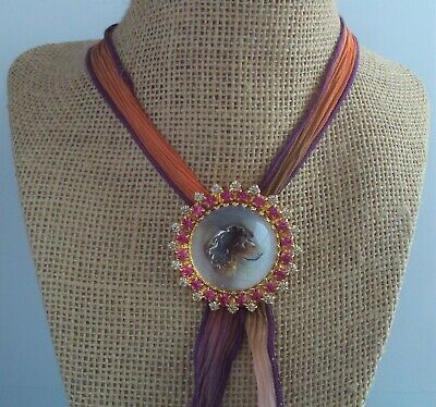 Antique Round Glass Domed Button/Rosette Dog Rhinestones Necklace Bolo Tie