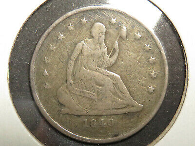 1840-O, No Drapery, Liberty Seated Quarter with VG-F Details and reverse damage