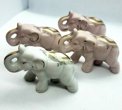 Lot Of 4 Vintage Pink & White Elephant Figurines Good Luck Trunk Up