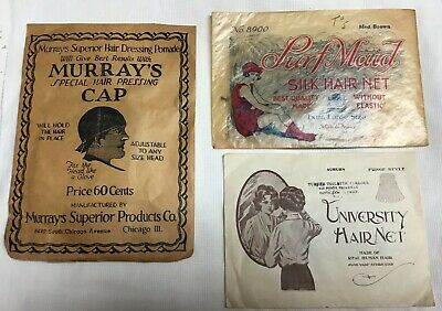 Three antique hair nets in original packages