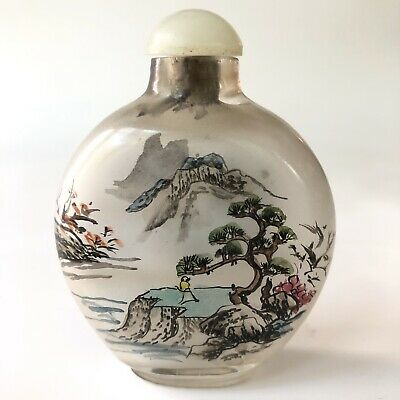 Antique Chinese Reverse Glass Painted Snuff Bottle Jade Top Mountain Scene Vtg