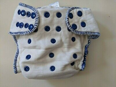 Sweet Pea Bamboo/Cotton One Size Fitted Cloth Diaper Blue Trim