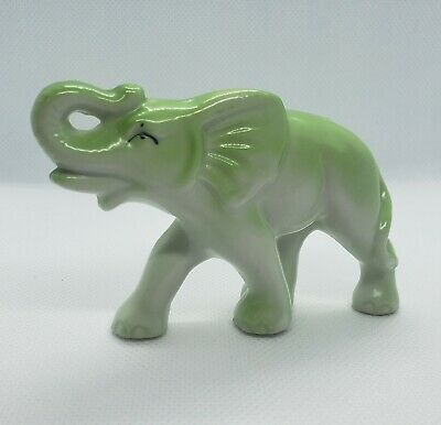 Vintage Green And White Elephant Figurine Trunk Up Good Luck