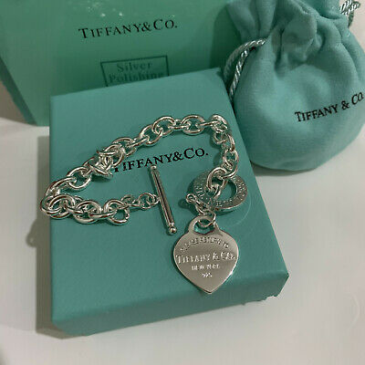 Tiffany & Co. Heart Tag Toggle Charm Bracelet 925 Sterling Silver  7.87