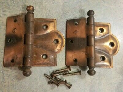 "2 Vintage Copper Wash Japanned Door Hinges 3.5"" Old Stanley Sweetheart  6 Screws"