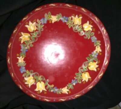Vintage Floral Wooden Bowl Made In Weston Vermont