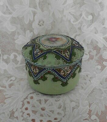 *****Lovely Nippon Hand Painted Porcelain Covered Powder/Trinket Jar Moriage***