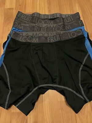 3 Pair Fruit If The Loom Boxer Briefs NWOT Size L