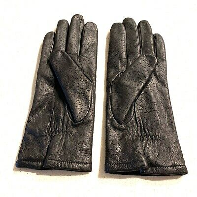 Fownes Women's Leather Driving Gloves Black Size 8 Textured Polyester Lined EUC