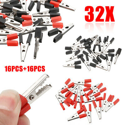 32 x Alligator Clip Terminal Test Electrical Battery Crocodile Clamp Red Black