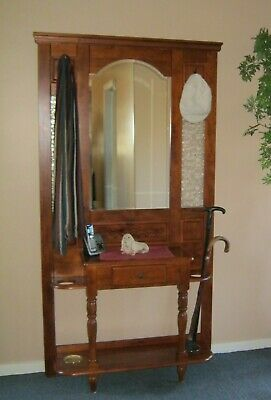 Timber Entry Hall Stand. Mirror, coat hooks and space for umbrellas and canes