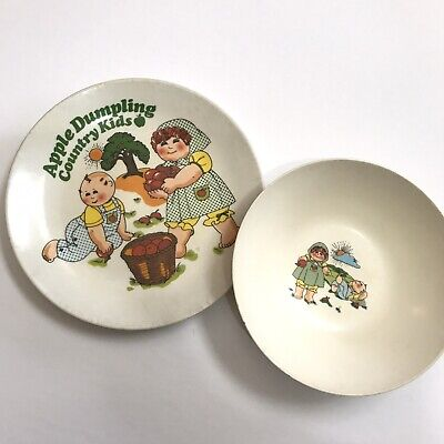 Apple Dumpling Country Kids Childrens Plate And Bowl Plastic Cabbage Usa Chilton